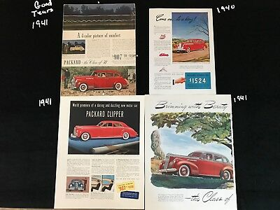 E Packard Ads Lot of 4 One 1940 and Three 1941 Red 4 Door Sedans