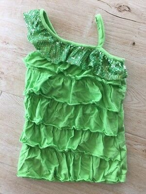 JUSTICE Girl's Green Ruffle Sequin Tank Cami Top Sz 10