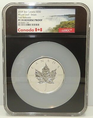 Canada, 2018 3 oz $50 Silver Incuse Maple Leaf - NGC Reverse Proof PF70 !!