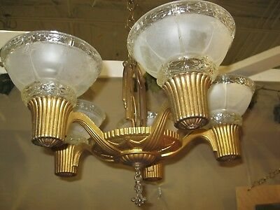 Vintage 1930'S 5 Light Slip Shade Chandelier - Cast Iron - With 5 Shades