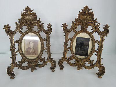 Victorian Heavy Carved Cast Metal Pair of Photograph Picture Frames 026B
