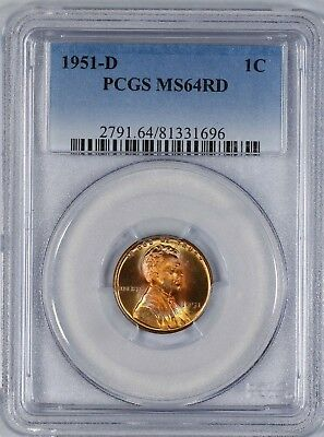 1951 D Lincoln Wheat Cent Penny 1C Pcgs Certified Ms 64 Rd Color Toning (696)