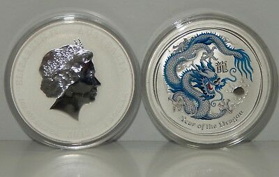 Australia, 2012 $1 Silver, Lunar Year of the Dragon, White & Blue - BU !!