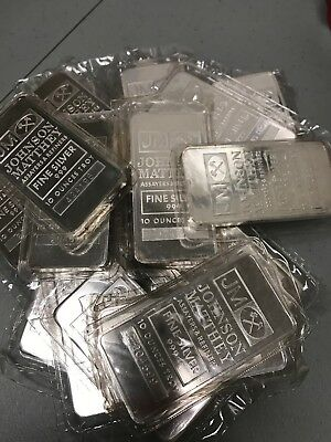 Nice JOHNSON MATTHEY 10 oz .999 Fine Silver Bar