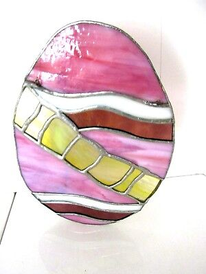 """Antique/Vintage Stained & Leaded glass Multi Color Egg Window Sun Catcher 81/2"""""""