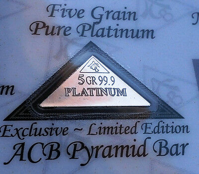 ACB Platinum Pyramid 5GRAIN BULLION MINTED BAR 99.9 Pure Certificate included +