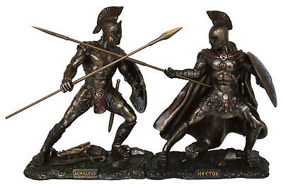 King Achilles fighting Prince Hector Trojan war Homer - Cold Cast Bronze Resin