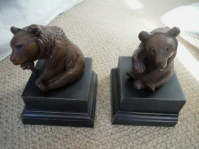 Vintage Pr. Seated Brown Bear Bookends Sq. Weighted Base, Resin/Composite - EXC