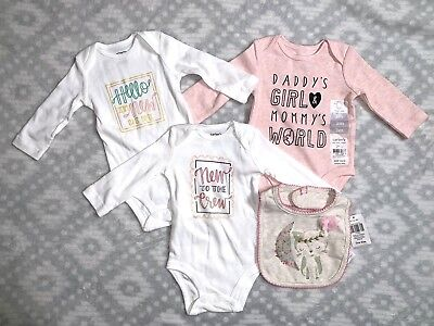 Carter's Baby Girl's 4 Piece Lot 3 Months Bodysuits Bib Pink White Fox Daddy New