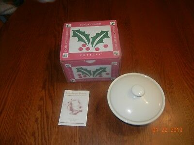 Longaberger Pottery Holly Small Covered Dish New In Box