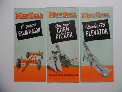 c.1950 NEW IDEA Farm Equipment Brochure Lot Corn Picker Elevator Wagon Vintage
