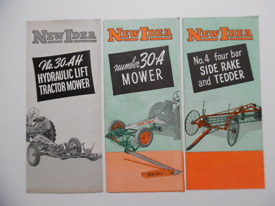 1950s NEW IDEA Farm Equipment 4 Brochure Lot Tractor Mower Side Rake Tedder More
