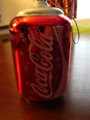 coca cola can glass Christmas tree ornament's 6. Great condition.