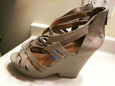 1ac1f16ded56 Lucky Brand Gray Leather Ankle Strap Zip Up Wedge Sandal Shoes Women s Size  10M