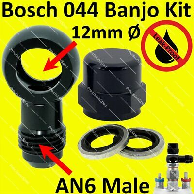 M10 10.2mm Banjo hole ID to 3AN Male Flare Adapter Black Aluminum Fuel Banjo fitting Designed for Bosch 044 Fuel Pump