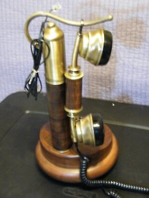 Reproduction Telephone by Sitel Candlestick Brass and Wood Grain French Gallows