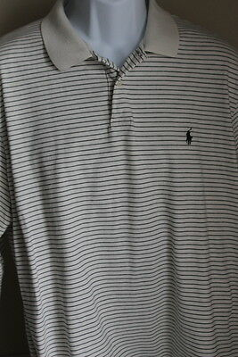 Polo by Ralph Lauren Cream Striped Long Sleeve Polo Blue Pony Mens XL