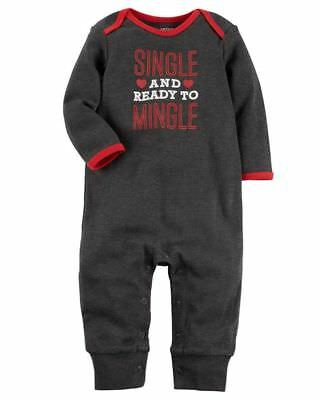 NWT Carters Baby Boys 'Single and ready to mingle' Romper Sleeper Valentines Day