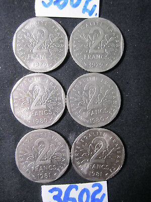 6 x Two Franc coins  France      48   gms      Mar3602