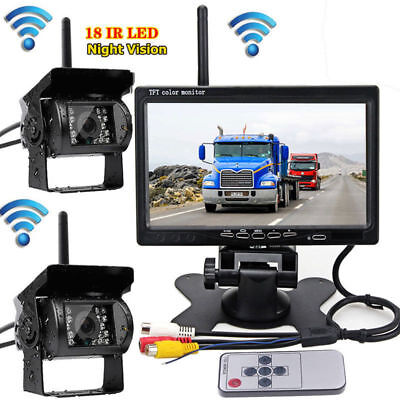 """2x Wireless Rear View Backup Camera  + 7"""" Monitor For Truck RV Car Bus DC 12-24V"""