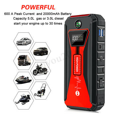 12V 99800mAh Car Jump Starter LED Battery Charger Booster Emergency Power Bank