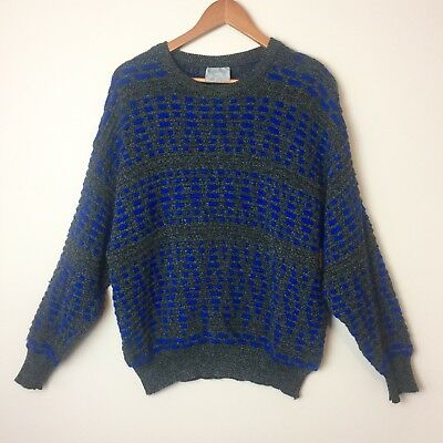Limnos Australian Vintage 100% Wool Jumper | Mens Size M | Grey and Blue Pattern