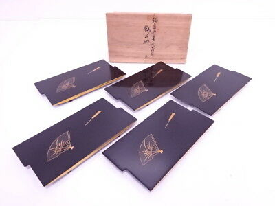 4010776: Japanese Tea Ceremony / Wajima Lacquered Seeving Plate 5 Designs Set