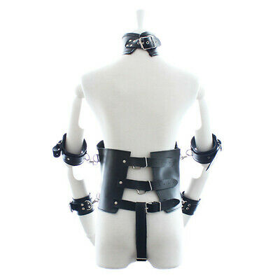 Lady Set Faux Leather Body Harness Restraint Corset Collar Bust Bra Catsuit
