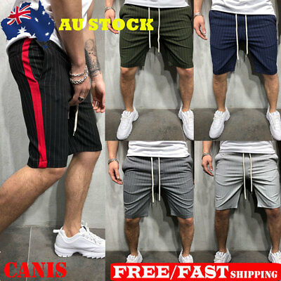 Mens Elasticated Waist Solid Breathable Shorts Gym Running Casual Short Pants AU