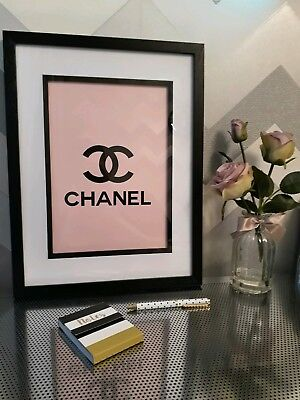 Coco Chanel Print Logo In Pink A4 Size For Home Gift