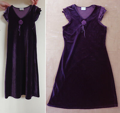 NEXT, PURPLE 'VELVET' SLEEVELESS PARTY DRESS 12 YEARS 152 cms