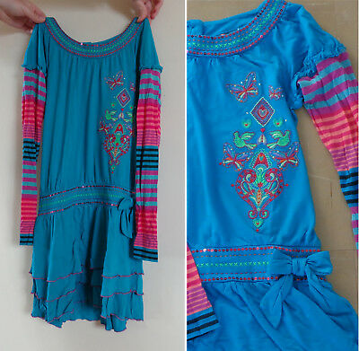 ROBE MANCHES LONGUES 11-12 ANS - TURQUOISE DRESS LONG SLEEVE 11-12 YEARS 152cm