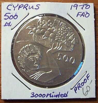 CYPRUS 1970 500 Mils FAO PROOF Silver Coin KM #43a