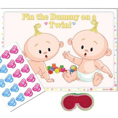 TWINS Pin the Dummy Baby Shower Game - UNISEX Wheres my Pacifier,Party Blindfold