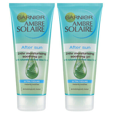 2 x Garnier Ambre Solaire After Sun Ultra Cooling Soothing Gel Aloe Vera 200ml