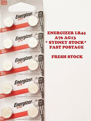 10 PCS Energizer LR44 A76 AG13 1.5V Button Cell Batteries EXPIRY 11-2020