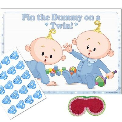 TWINS Pin the Dummy Baby Shower Game - BLUE Wheres the Pacifier Party Blindfold