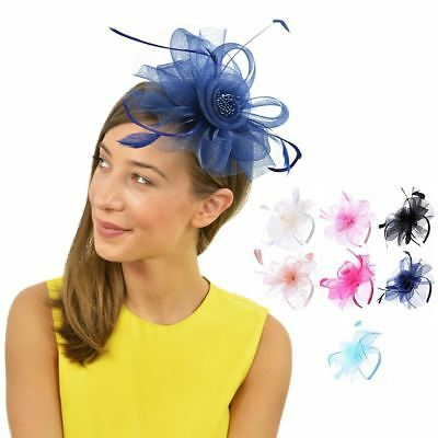 Flower Feather Looped Alice Head band Fascinator Ladies Day Wedding Royal Ascot