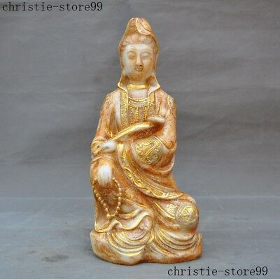 "11""Chinese old jade gilt carved 8 treasure Symbol Kwan-Yin GuanYin Buddha statue"