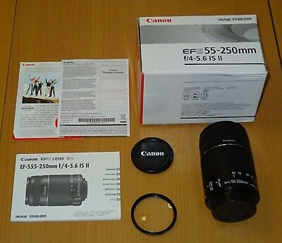 Canon EF-S 55-250mm F/4-5.6 II IS Lens with box, manuals and filter