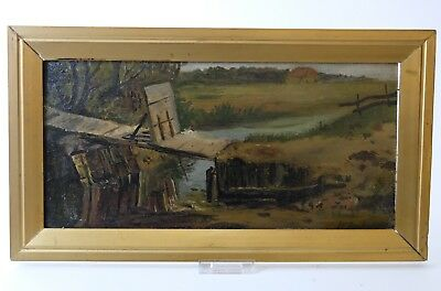 Antique Dutch painting from the early 1900's, Oil on board 19 x 38.5 cm