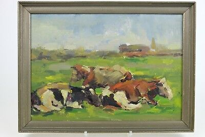 Antique Dutch painting early 1900's, Oil / board 31 x 42 cm Cows in landscape