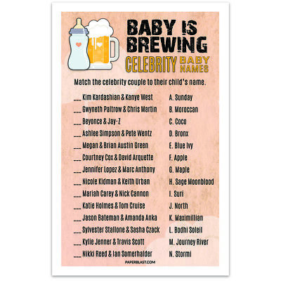 Baby Shower Game Baby is Brewing - Celebrity Baby Names - set of 30