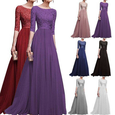 Womens Chiffon Lace Cocktail Ball Prom Gown Long Dress Wedding Formal Bridesmaid