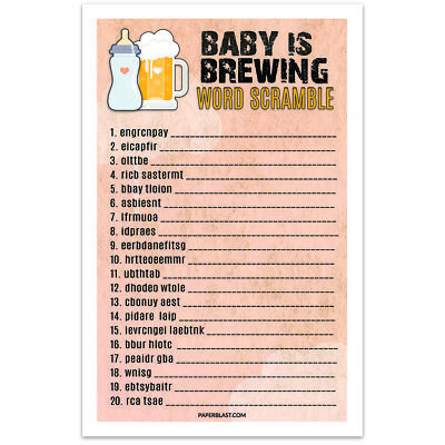 Baby Shower Game Baby is Brewing Bottle and Beer - World Scramble - set of 30