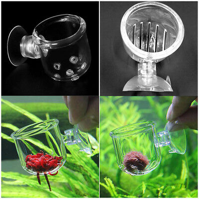 Aquarium Crystal Glass Pot Fish Tank Aquatic Plant Cup Red Shrimp Holder +Sucker