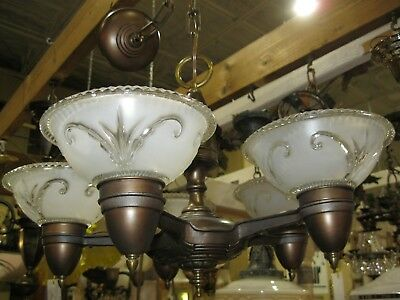 Vintage 1930's Cast Metal 5 Light Slip Shade Chandelier - With Shades