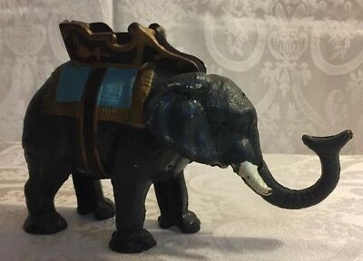Vintage collectible Design Toscano Circus Elephant Die Cast Mechanical Bank