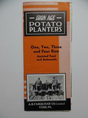 c.1930s IRON AGE POTATO PLANTERS Farm Implement Brochure A.B Farquhar Co Vintage