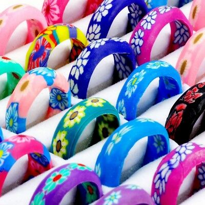 20/100Pcs Wholesale Bulk Mixed Ring Flower Soft Polymer Clay Rings Jewelry Lots